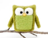 Needle Felted Owl, olive green home whimsical decor play ecofriendly