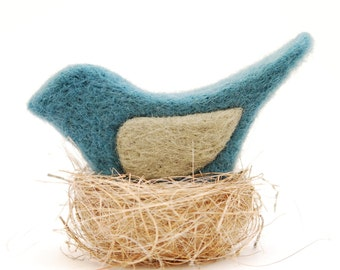 Needle Felted Bird blue grey nature home decor modern eco friendly teacher hostess gift