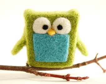 Needle Felted Owl, green blue wool fun whimsical ecofriendly decor lime aqua