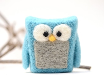 Needle Felted Owl, grey blue wool fun whimsical ecofriendly decor  aqua
