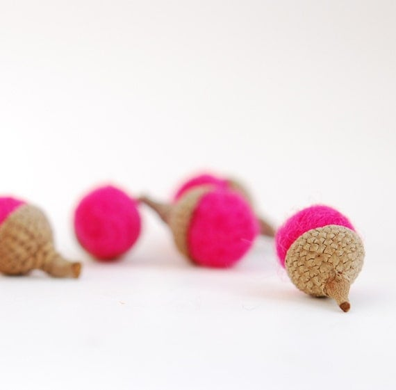 Felted Acorns 10 acorns Hot Pink, valentine decor sweetheart fuschia woodland nature