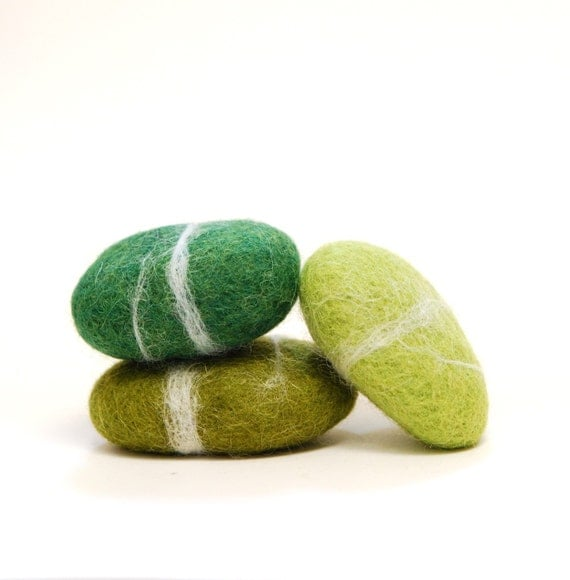 Felted Stones,  Green stones wool ecofriendly decor paperweight moss olive holiday unisex