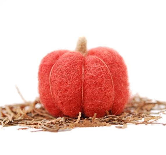 Needle Felted Pumpkin red autumn, fall, thanksgiving, halloween harvest decor