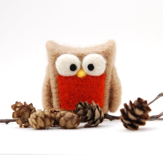 Needle Felted Owl, tan orange rust home whimsical decor play ecofriendly