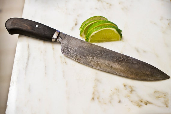 feather pattern damascus chef 39 s knife. Black Bedroom Furniture Sets. Home Design Ideas