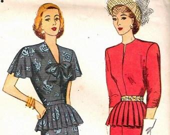 Simplicity 2011 Vintage 40s Dress Detachable Peplum Sewing Pattern B34