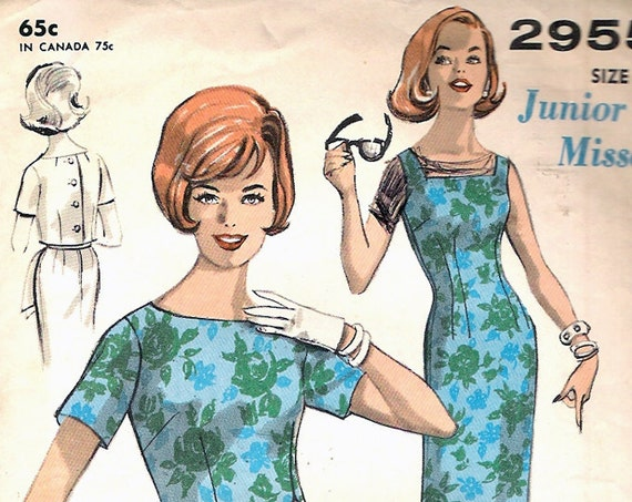 Advance 2955 Vintage Sheath Dress Topper Sewing Pattern B34