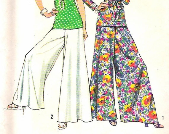 simplicity 5690 vintage palazzo pants top sewing pattern b34