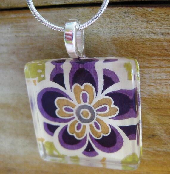 Purple Mod Garden Pendant.  1 inch Glass Tile Pendant on a Snake Chain