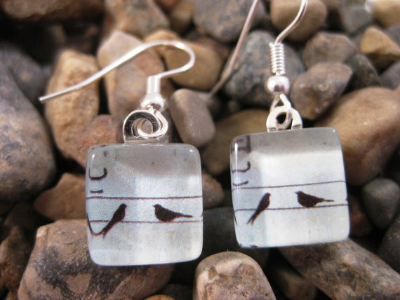 Earrings.  Birds on a Wire.  Glass Tile Earrings