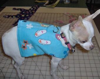 dog vest,dog harness vest with D ring, flip flops & flowers print