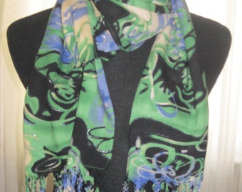 scarf,women's handmade fashion scarf, great mother's day gift, fringed, purple and green swirl