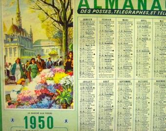 French Vintage 1950 Calendar