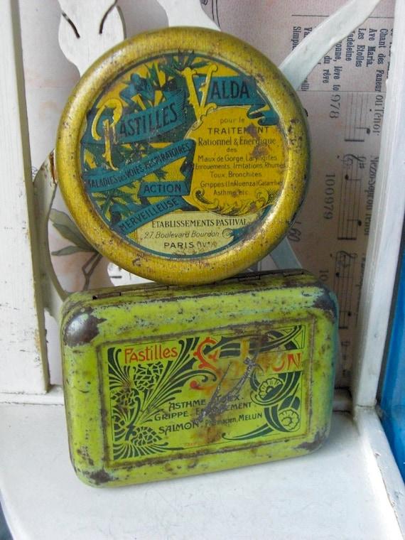 Antique set of 2 french medicine tin box.
