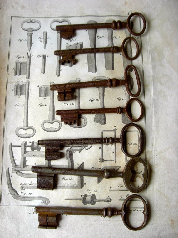 Antique set of old victorian keys.