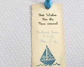 25 Baby Wish Tags - Sailboat - Hand stamped - Personalized