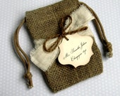 10 Burlap Wedding Favor Bags - Personalized - with Muslin Ribbon