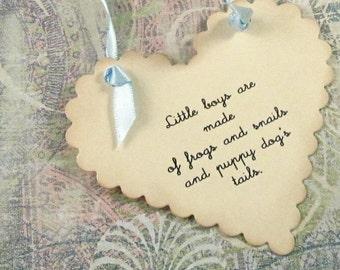 25 Baby Wish Tags - Little Boy - Heart Shaped