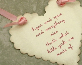 25 Baby Wish Tags - Little Girl - Heart Shaped