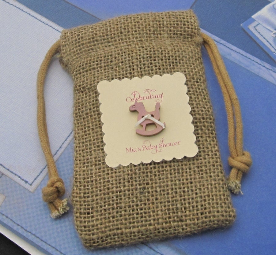 10 burlap baby shower favor bags rocking horse by cottagecandies