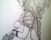 Pregnant Warrior Woman Original Yoshitaka Amano Style Drawing