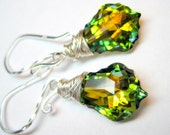 Green yellow Earrings, Sterling Silver, Swarovski baroque crystals, Wire wrapped, Handmade jewelry