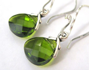 Olive green earrings, Swarovski crystal earrings, Olivine jewelry, Sterling silver teardrop earrings, Christmas gift