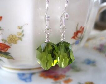 Olive green earrings, Swarovski crystal earrings,  Sterling silver, Green glass earrings, Glass bead earrings, Bridesmaid Wedding jewelry
