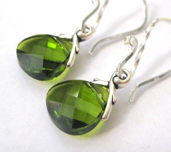 Olive green earrings, Swarovski crystal earrings, Bridesmaid gift, Olivine jewelry, Sterling silver teardrop earrings,