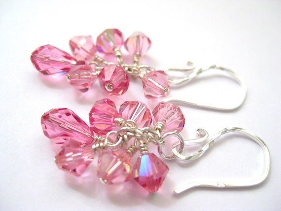 Pink crystal earrings, Swarovski rose pink earrings, Sterling silver earrings, Wire wrapped cluster earrings,Bridesmaid gift,Wedding jewelry