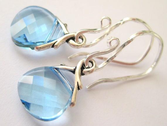 Aqua blue earrings, Sterling silver earrings, Swarovski crystal briolette teardrop earrings, March birthstone earrings, Aquamarine jewelry