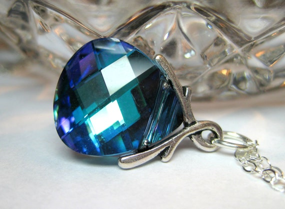 Aqua blue necklace, Sterling silver, Swarovski crystal pendant teardrop, Handmade jewelry