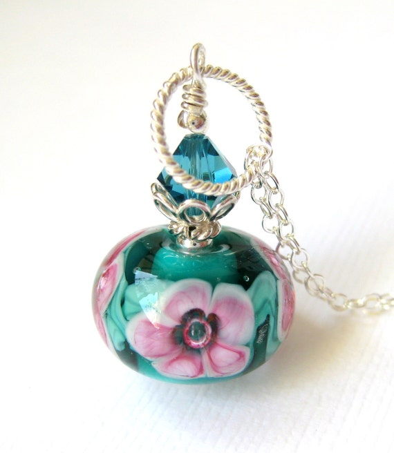 Green pink necklace, Floral necklace, Teal flower necklace, lampwork pendant necklace, Sterling silver necklace, Glass jewelry