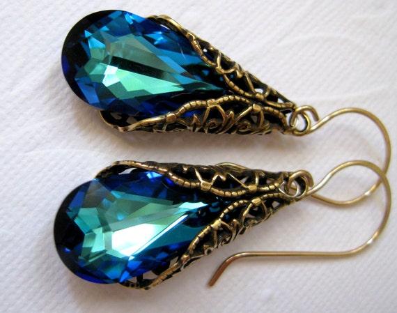 Ocean blue earrings, Antique gold filigree victorian earrings,  Aqua earrings, Teal earrings,  Peacock earrings, Swarovski crystal earrings