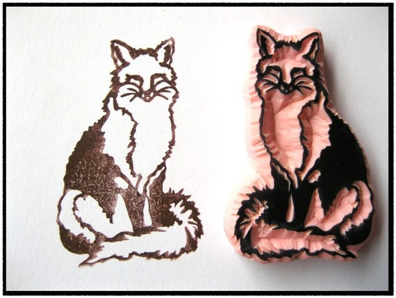 Fox Hand Carved Rubber Stamp, Unmounted