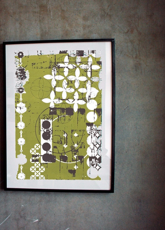 Savannah Montage Screen Print - Dark Chocolate and Lime - Large