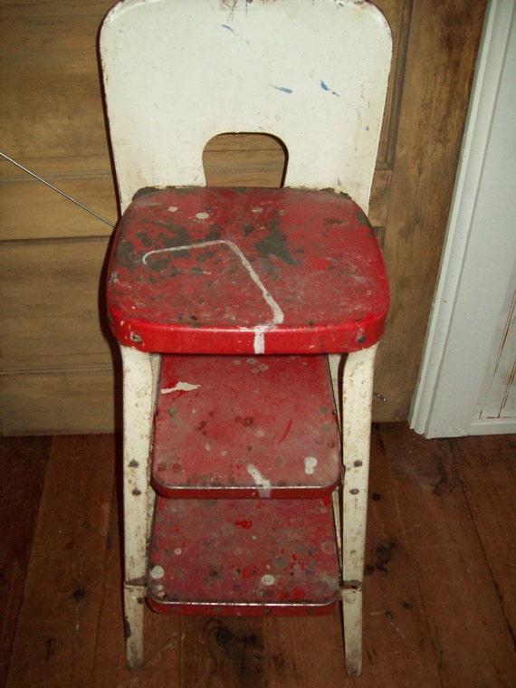 Vintage Keenco Metal Step Stool Chair