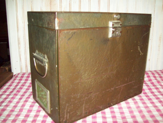 Vintage Metal Fold Out File Box. Reserved for Michael.