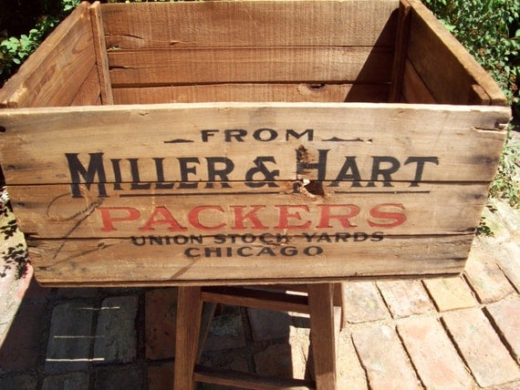Vintage Wooden Chicago Union Stock Yard Advertising Box.