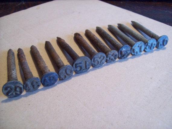Vintage Metal Number Nails