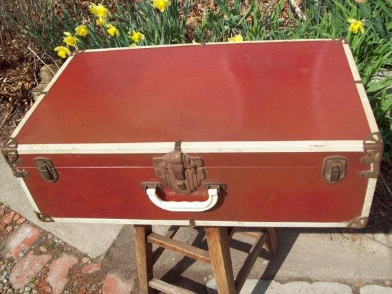 Vintage Red Metal Trunk-Suitcase. Reserved for sebrechts.
