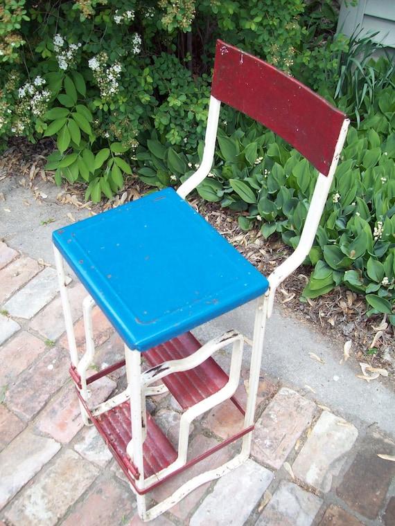 Vintage Folding Metal Step Stool Chair