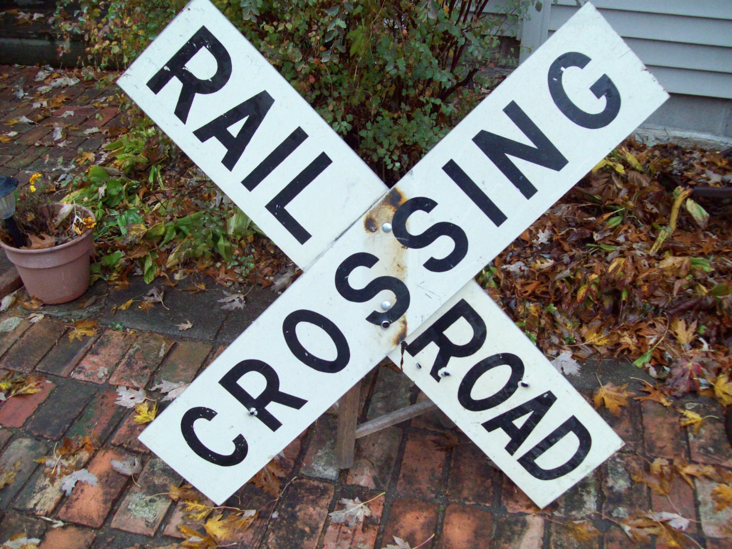 vintage railroad crossing sign by thevrose on etsy