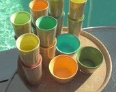 1950's-60's Tiki thatched plastic glasses with matching bowls and tray
