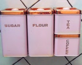 PINK Mid-Mod 1950's Kitchen Beautyware Canasters