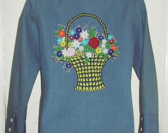 REDUCED Hand-beaded Vintage 1970's hippy denim shirt