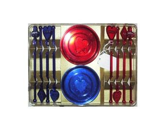 Atomic Era card Poker/ Bridge coasters and swizzel sticks/ stirrers