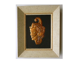 1950s Pair of Copper Relief TIKI heads in shadow frames