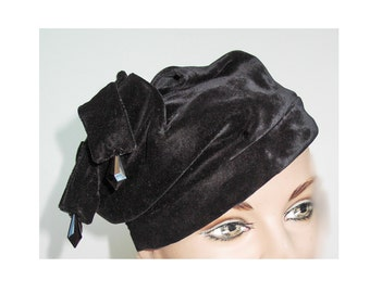 1920s-30s Jester Hat with Jewels in Black Velvet Hollywood Glam
