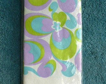 DEADSTOCK 1960s Flower Power paper table cloth